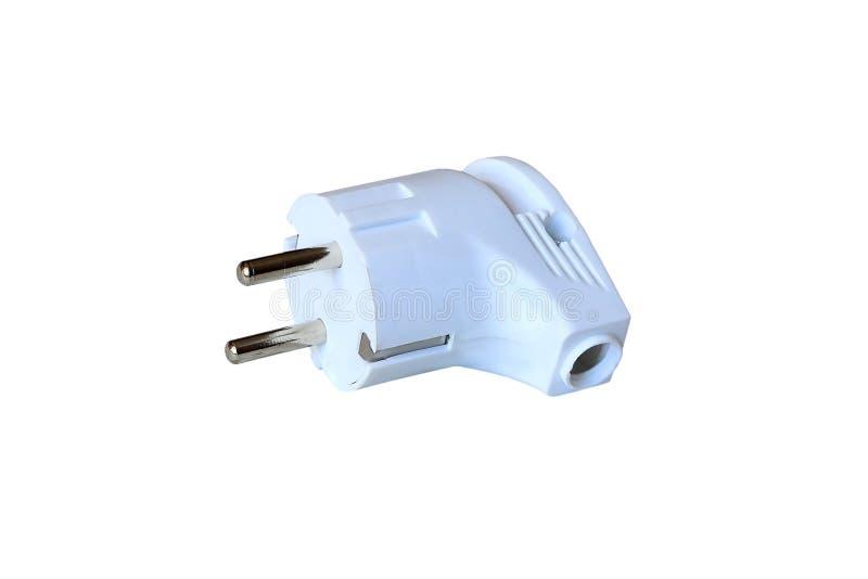 Elektrischer Plastikstecker lokalisiert auf weißem Hintergrund lizenzfreie stockbilder