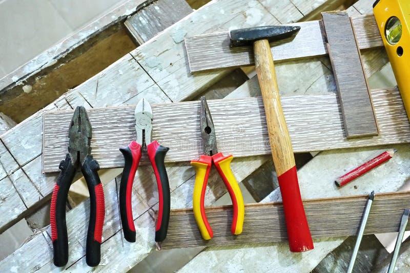 Elektrischer Schleifer f?r das Arbeiten an Holz Die Diskette mit den Z?hnen macht es einfach, Holz von zu schneiden erfordert stockfotos