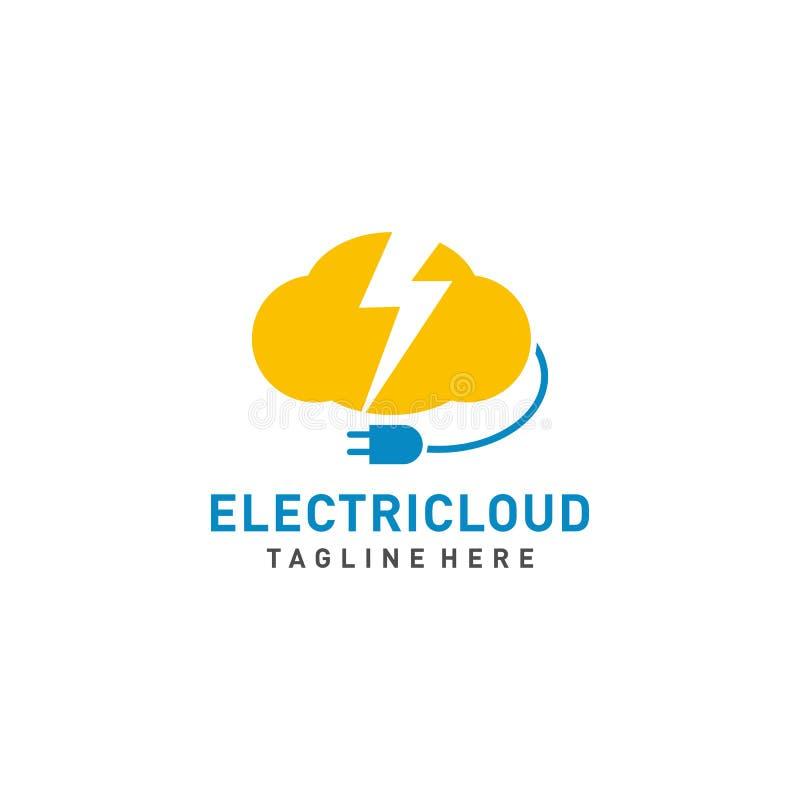 Elektrischer Wolkenlogo-Entwurfsvektor mit Kabelillustration stock abbildung
