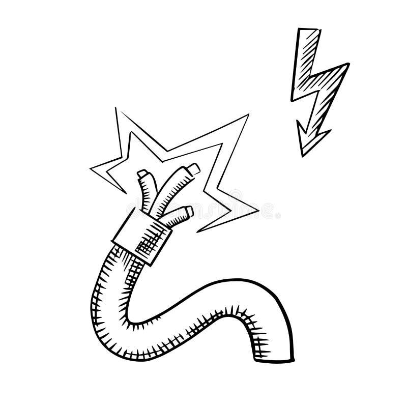 Elektrisches Kabel Mit Funkelnden Blanken Drähten Vektor Abbildung ...