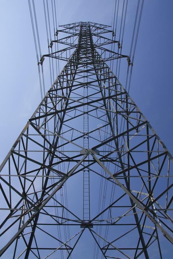 Elektrisches Pfosten- und Gefahrenzeichen stockbild