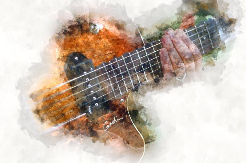 Elektrisches quitar Musikinstrument des Aquarells stock abbildung