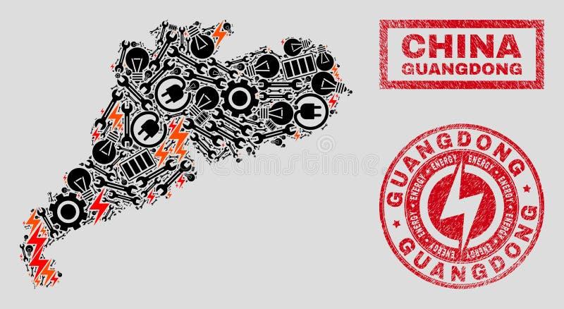 Elektrisk översikt för collageGuangdong landskap och snö och skrapade stämpelskyddsremsor stock illustrationer