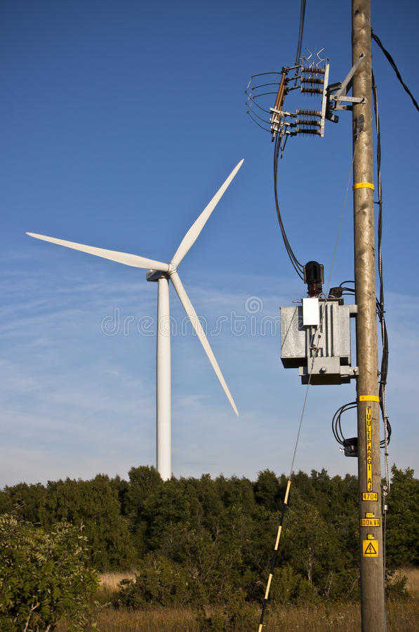 elektrisk avdelningskontorwindmill arkivfoton