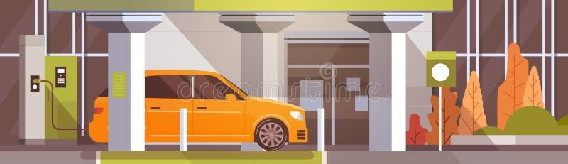 Elektrisk bil på Eco för uppladdningsstation det vänliga medlet i stad royaltyfri illustrationer