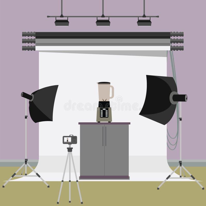 Elektrisk blandare i fotostudio royaltyfri illustrationer