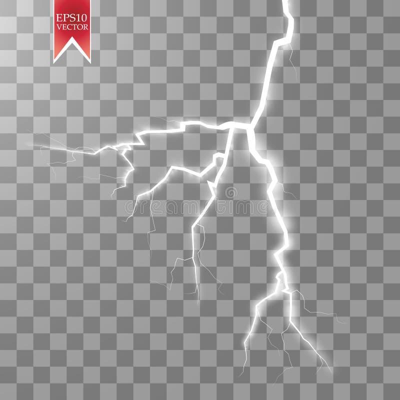 Elektrisk blixtbult för vektor Energieffekt Ljusa ljusa signalljus och gnistor på genomskinlig bakgrund royaltyfri illustrationer