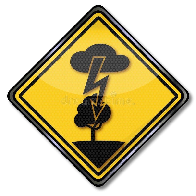 Elektrisk chock och blixt i ett träd stock illustrationer