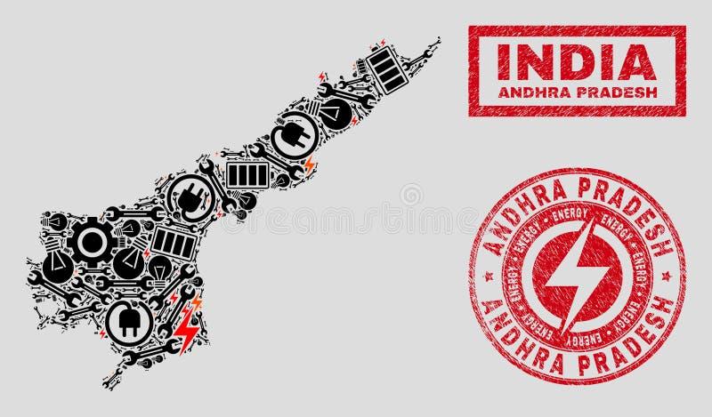 Elektrisk collage Andhra Pradesh State Map och snöflingor och skrapade stämpelskyddsremsor royaltyfri illustrationer