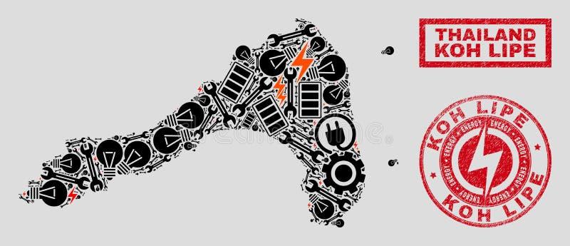Elektrisk collage Koh Lipe Map och snö och Grungestämpelskyddsremsor vektor illustrationer