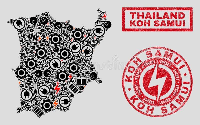 Elektrisk collage Koh Samui Map och snöflingor och att bedröva stämpelskyddsremsor royaltyfri illustrationer