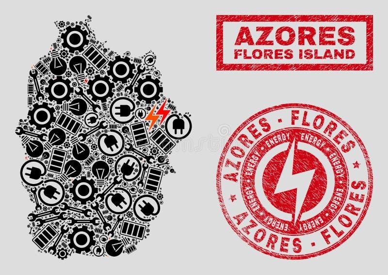 Elektrisk collageFlores ö av den Azores översikten och snö och Grungestämplar vektor illustrationer