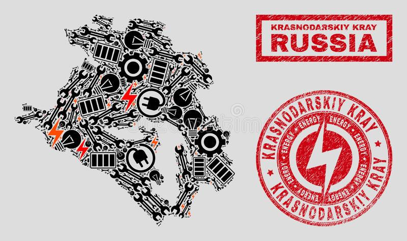 Elektrisk collageKrasnodarskiy Kray översikt och snö och texturerade skyddsremsor vektor illustrationer