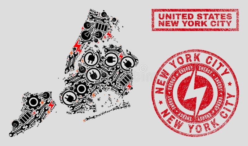 Elektrisk collageNew York City översikt och snöflingor och texturerade stämpelskyddsremsor vektor illustrationer