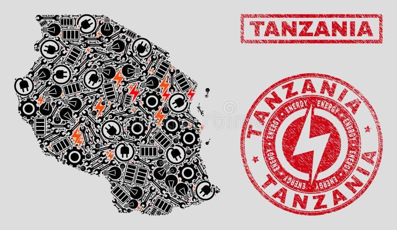 Elektrisk collageTanzania översikt och snöflingor och Grungeskyddsremsor stock illustrationer