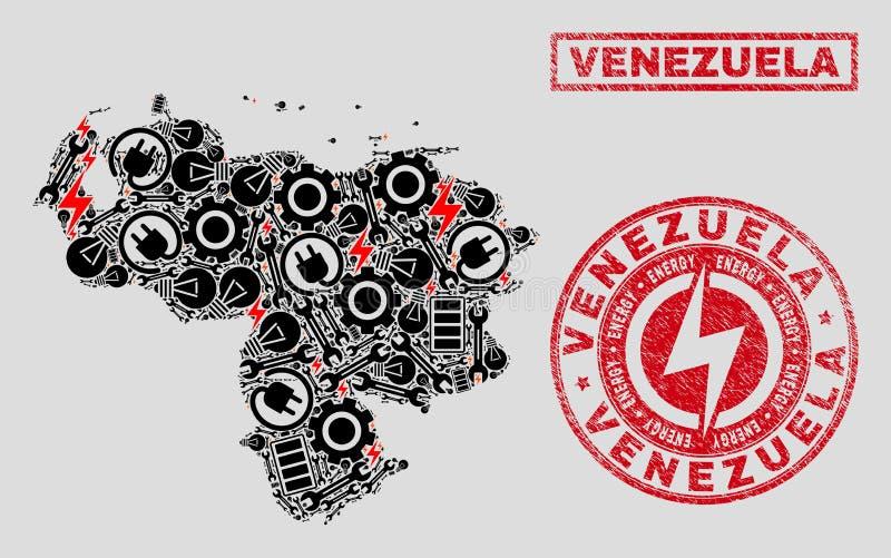Elektrisk collageVenezuela översikt och snö och Grungestämpelskyddsremsor royaltyfri illustrationer