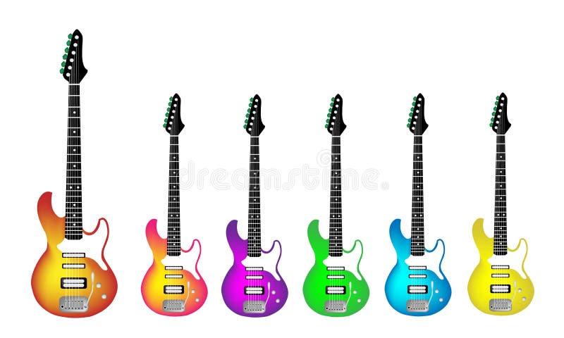 Elektrisk gitarr för älskvärd heavy metal på vita Backgr stock illustrationer