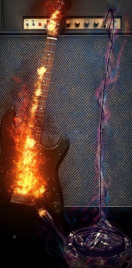 Elektrisk gitarr för flammaplasma med högtalaren och förstärkaren royaltyfri illustrationer