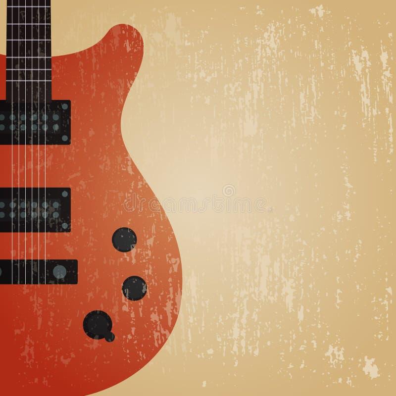 Elektrisk gitarr för Grunge stock illustrationer