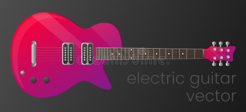 Elektrisk gitarr för realistisk lutning som isoleras på mörk bakgrund Specificerade mest Scalable och redigerbar färg för vektor, stock illustrationer