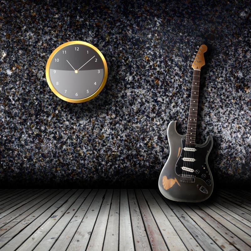 Elektrisk gitarr i det tomma rummet vektor illustrationer