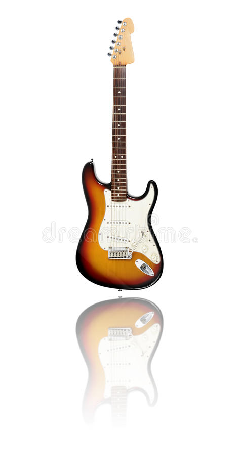 Elektrisk gitarr med reflexion, sunburst royaltyfria foton