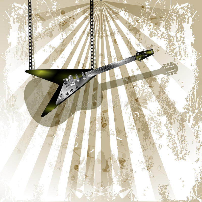 Elektrisk gitarr med skugga på den akustiska gitarren royaltyfri illustrationer