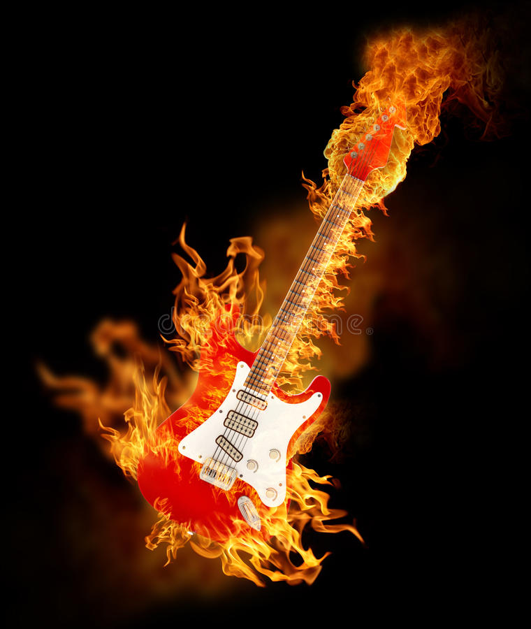 Elektrisk gitarr på brand royaltyfri illustrationer