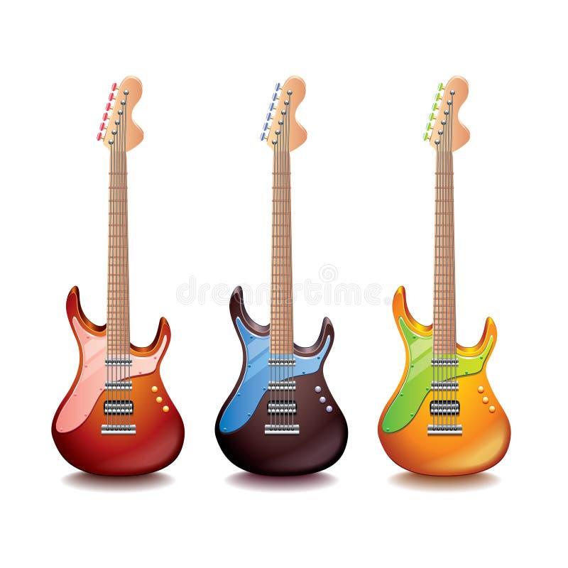 Elektrisk gitarr på den vita vektorn royaltyfri illustrationer