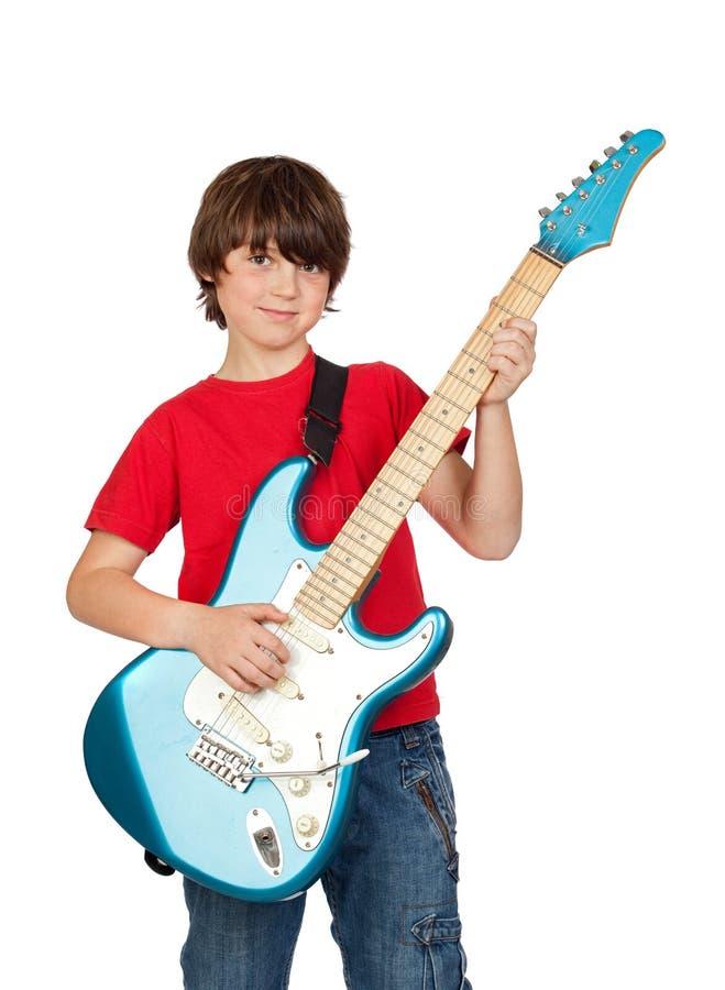 elektrisk gitarrwhit för pojke fotografering för bildbyråer