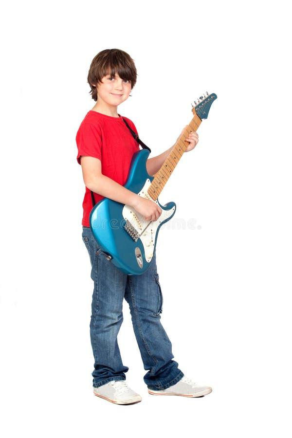 elektrisk gitarrwhit för pojke arkivbild