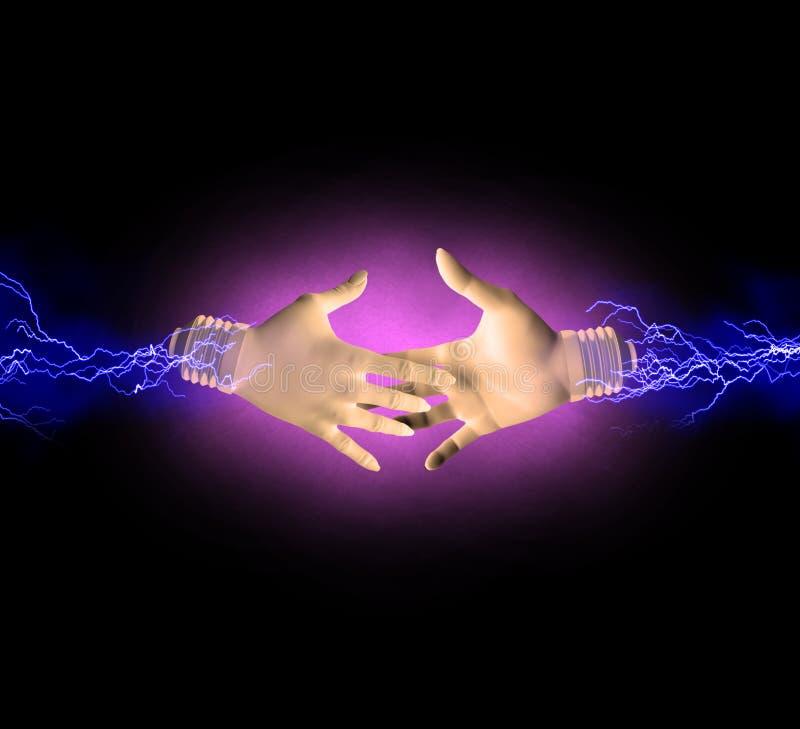Elektrisk handskakning stock illustrationer