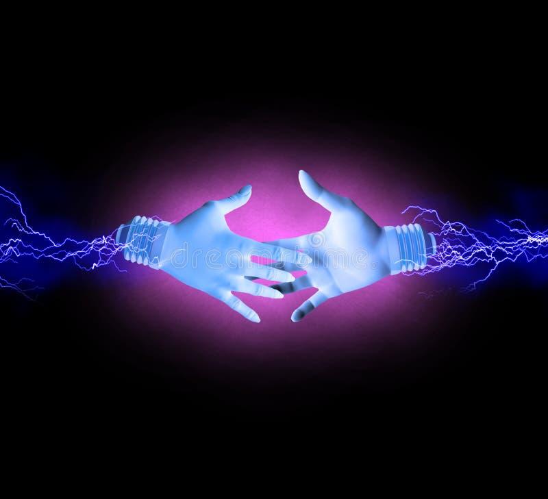 Elektrisk handskakning royaltyfri illustrationer