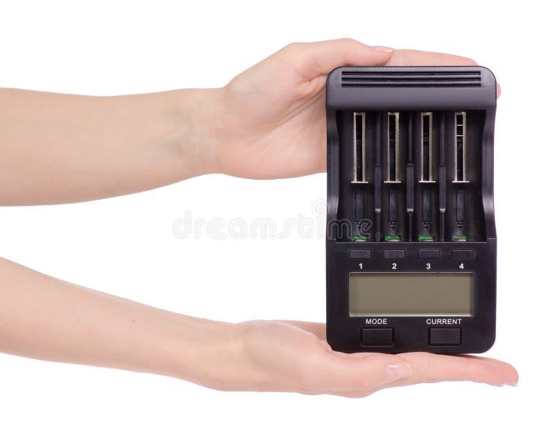 Elektrisk intellektuell för batteriuppladdare i hand arkivfoton