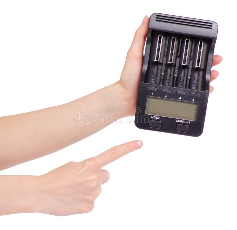 Elektrisk intellektuell för batteriuppladdare i hand royaltyfri foto