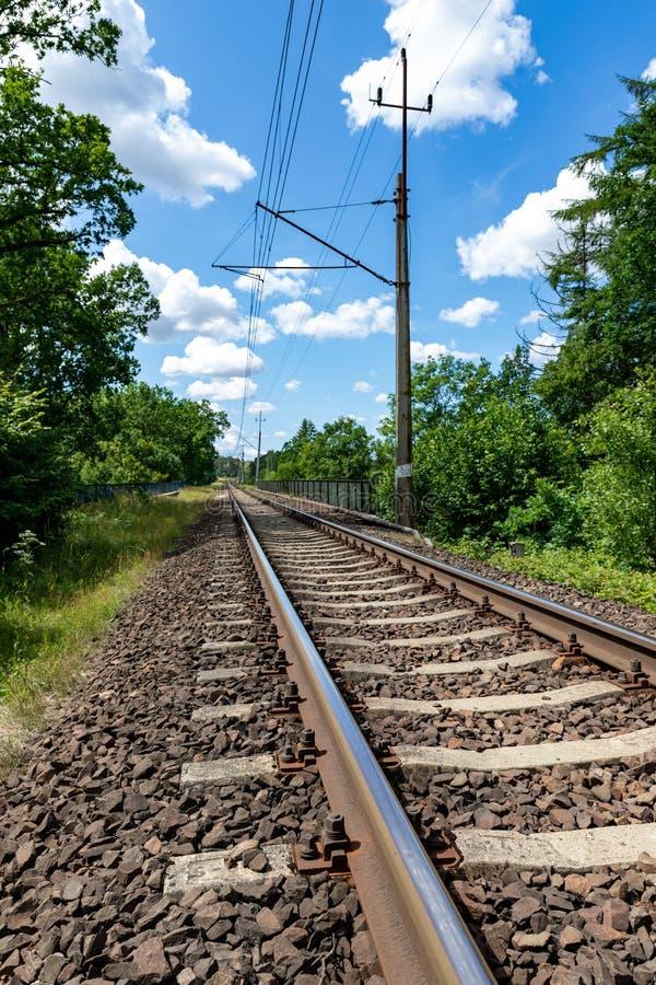 Elektrisk järnväg dragkraft i Centraleuropa En järnväg linje som leder till och med ett skogsbevuxet område royaltyfri bild