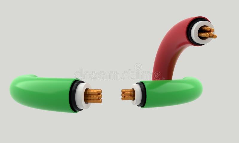 Elektrisk kabel av bakgrund, 3d royaltyfri illustrationer