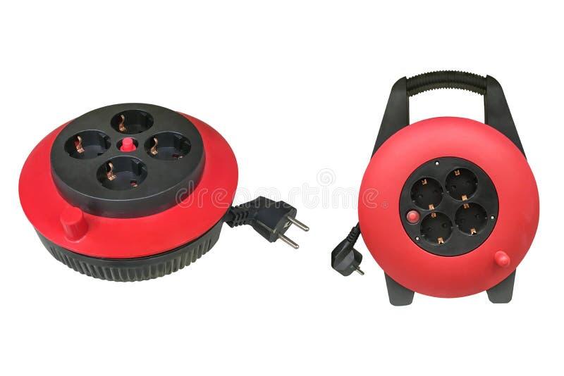 Elektrisk kabel för röd extender som isoleras på vit bakgrund royaltyfri foto