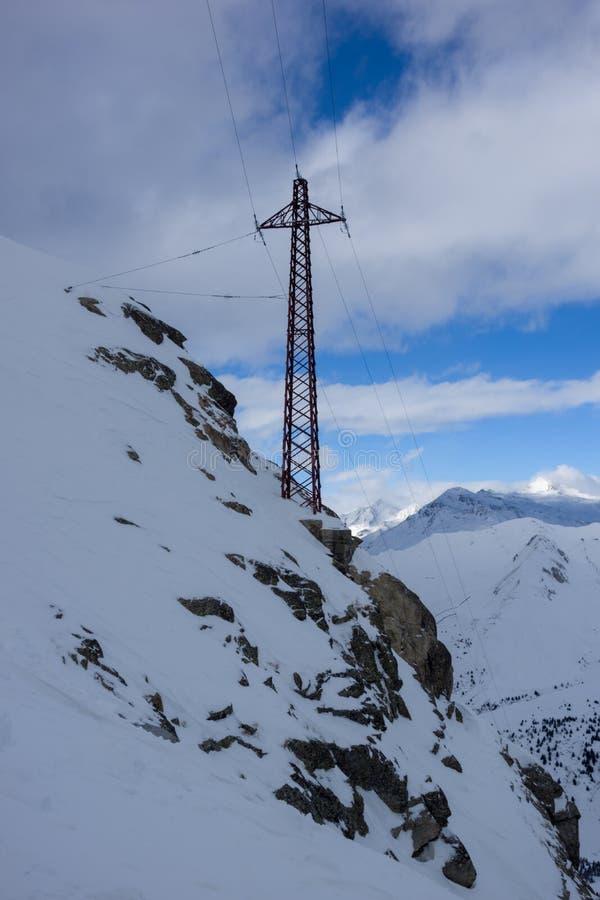 Elektrisk kolonn, Paradiso, Passo Tonale, Italien fotografering för bildbyråer