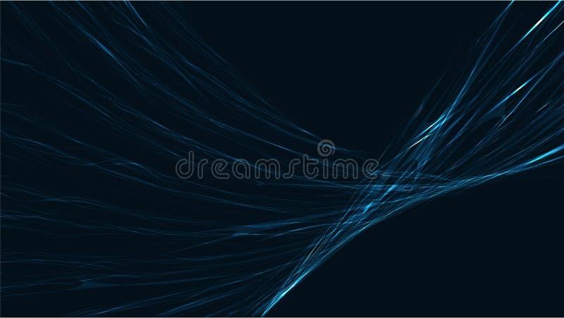 Elektrisk ljus glödande ljus texturbakgrund för blå abstrakt digital tekniskt avancerad magisk kosmisk energi av remsor, driftiga vektor illustrationer