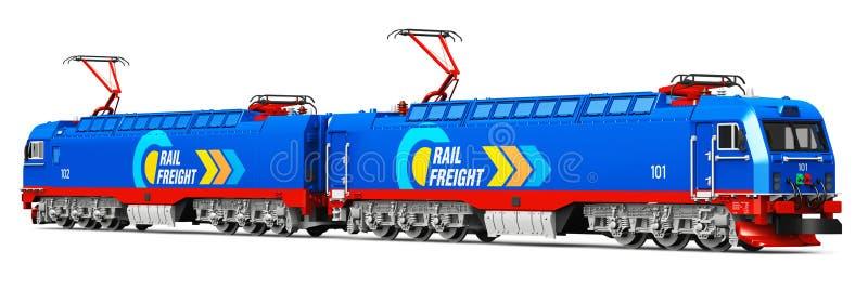 Elektrisk lokomotiv för moderna tunga frakter stock illustrationer