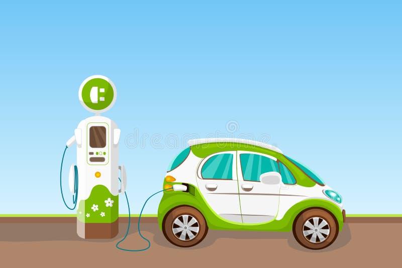 Elektrisk medel- och uppladdningsstation Illustration för tecknad film för Eco bilvektor Ekologitransport och gräsplanenergibegre vektor illustrationer