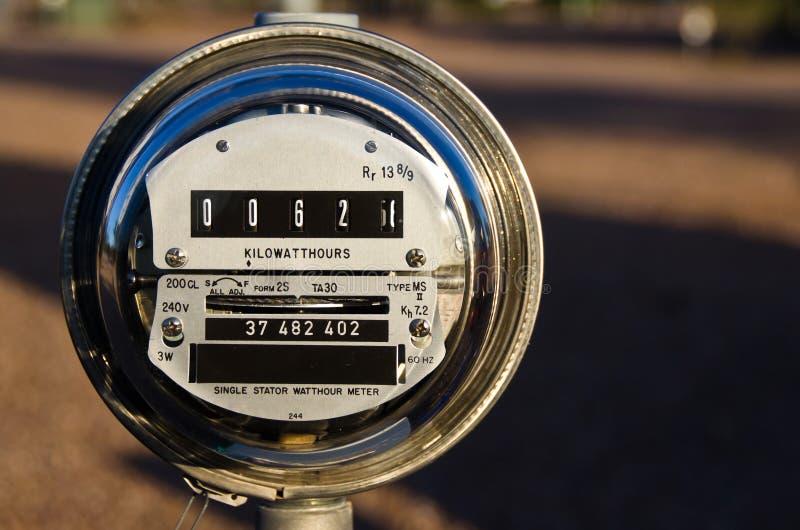 Elektrisk meter som visar aktuell maktförbrukning royaltyfri fotografi