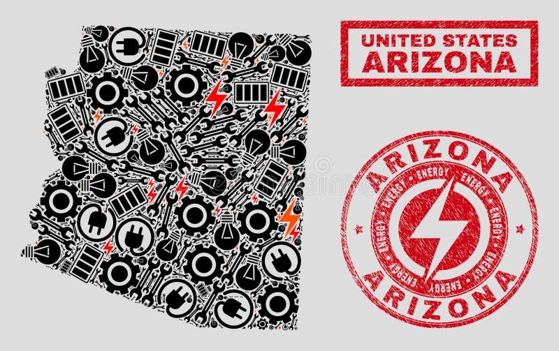 Elektrisk mosaisk Arizona tillståndsöversikt och snöflingor och Grungestämplar stock illustrationer