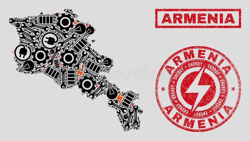 Elektrisk mosaisk Armenien översikt och snö och skrapade stämpelskyddsremsor stock illustrationer