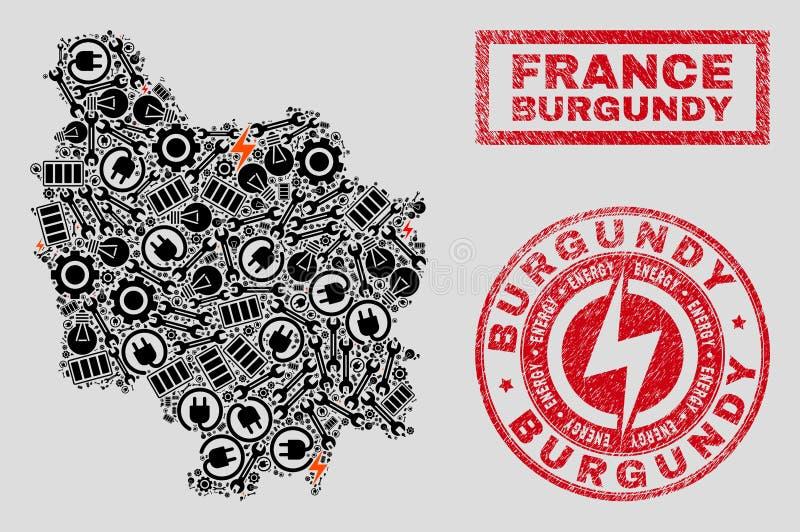 Elektrisk mosaisk Bourgognelandskapöversikt och snö och skrapade stämplar vektor illustrationer