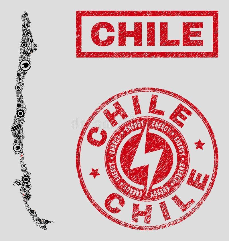 Elektrisk mosaisk Chile översikt och snö och texturerade skyddsremsor stock illustrationer