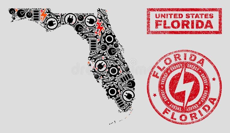 Elektrisk mosaisk Florida tillståndsöversikt och snö och Grungestämplar vektor illustrationer