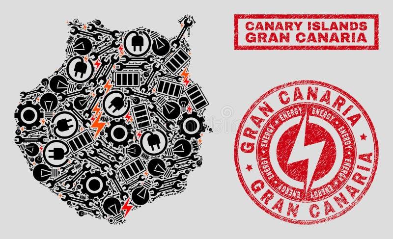 Elektrisk mosaisk Gran Canaria översikt och snö och nödlägestämplar stock illustrationer