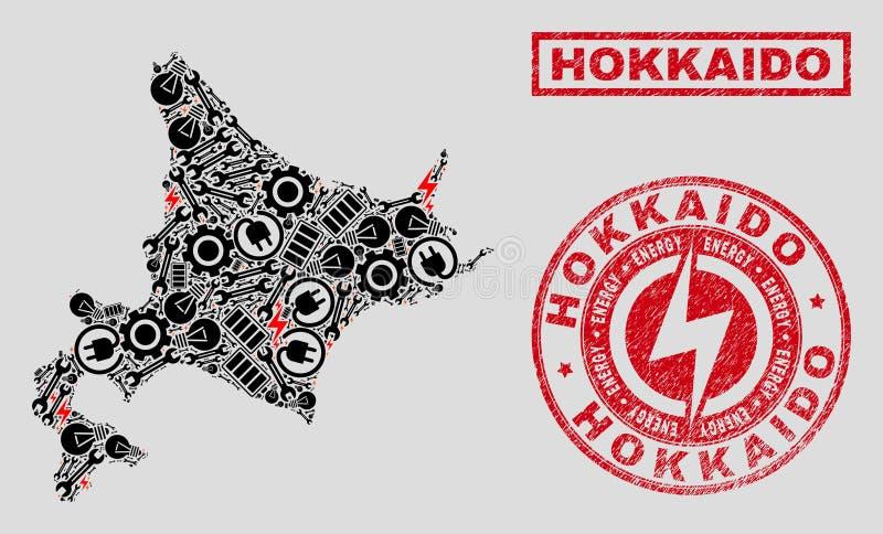 Elektrisk mosaisk Hokkaido översikt och snö och skrapade skyddsremsor stock illustrationer